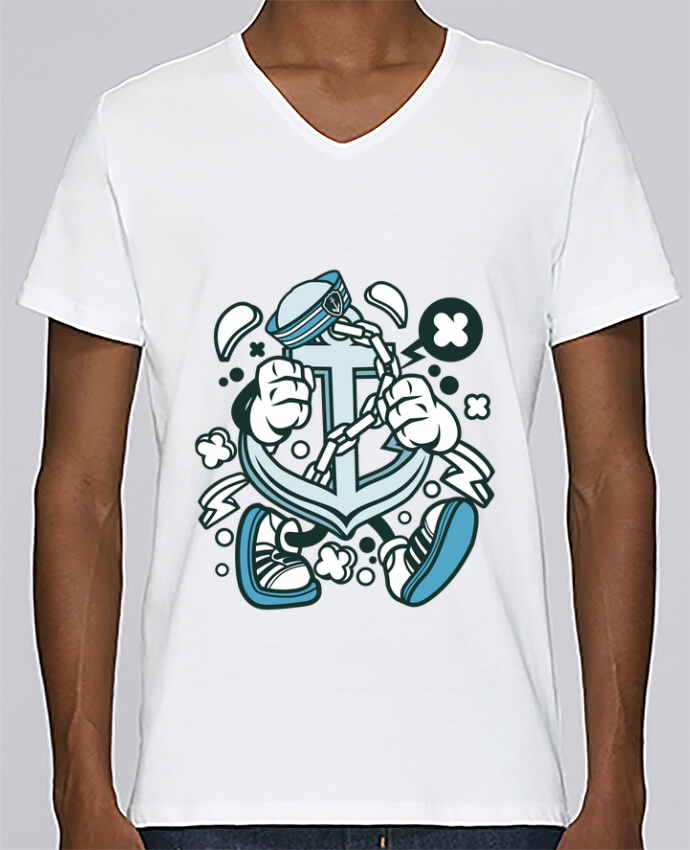 Camiseta Hombre Cuello en V Stanley Relaxes Ancre de bateau Cartoon | By Kap Atelier Cartoon por Kap Atelier