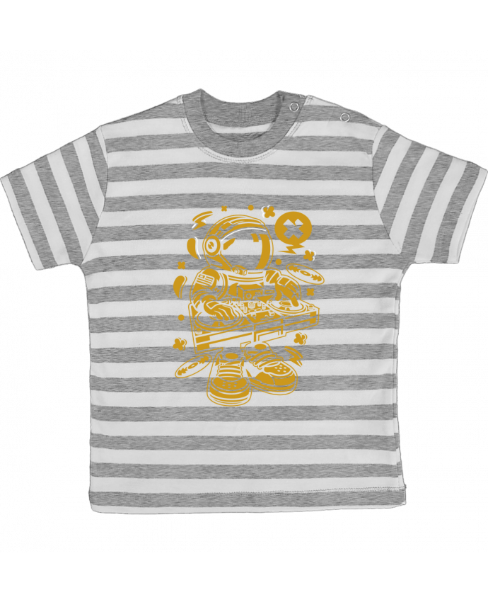 Camiseta Bebé a Rayas Dj Astronaute Golden Cartoon | By Kap Atelier Cartoon por Kap Atelier