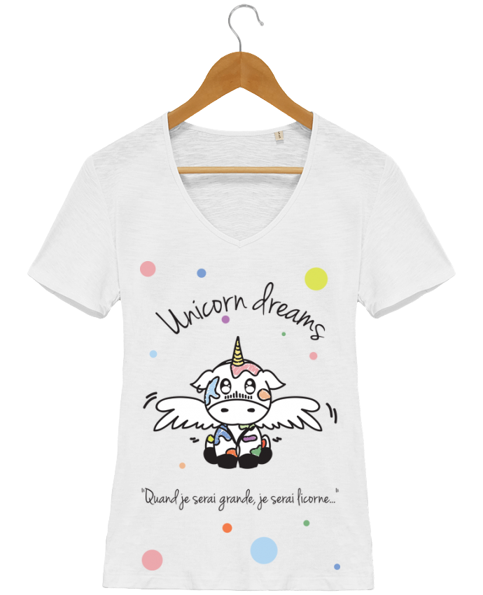 Camiseta Mujer Cuello en V Stella Chooses Unicorn Dreams - Little cow por BlassCrea