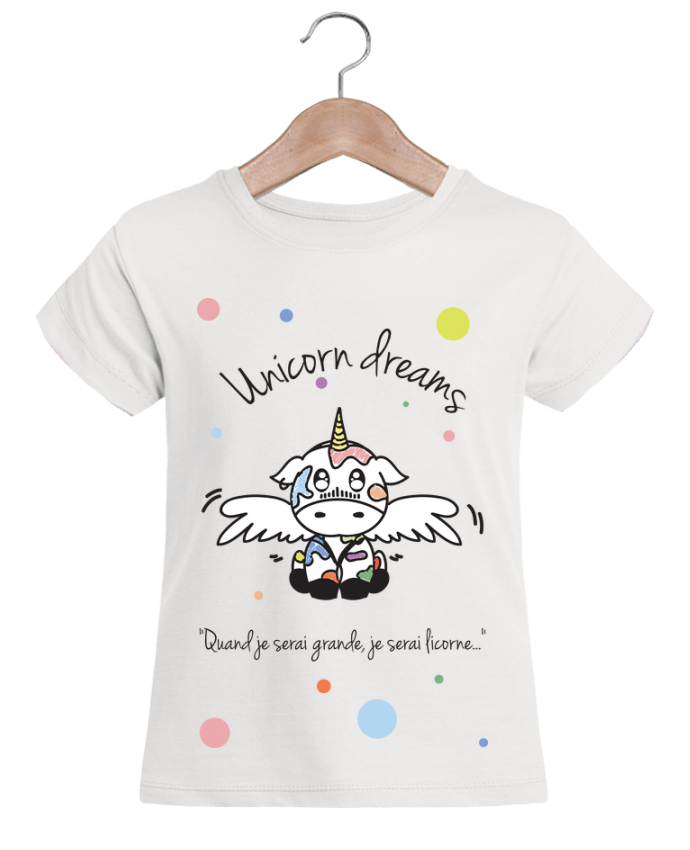 Camiseta Niña Stella Draws Unicorn Dreams - Little cow por BlassCrea