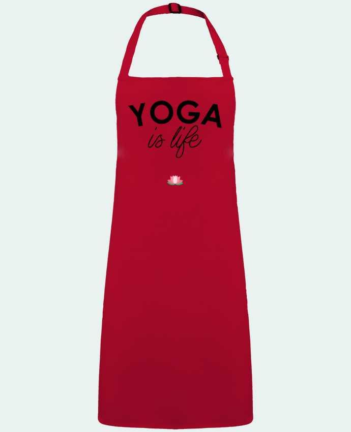 Delantal Sin Bolsillo Yoga is life por  tunetoo