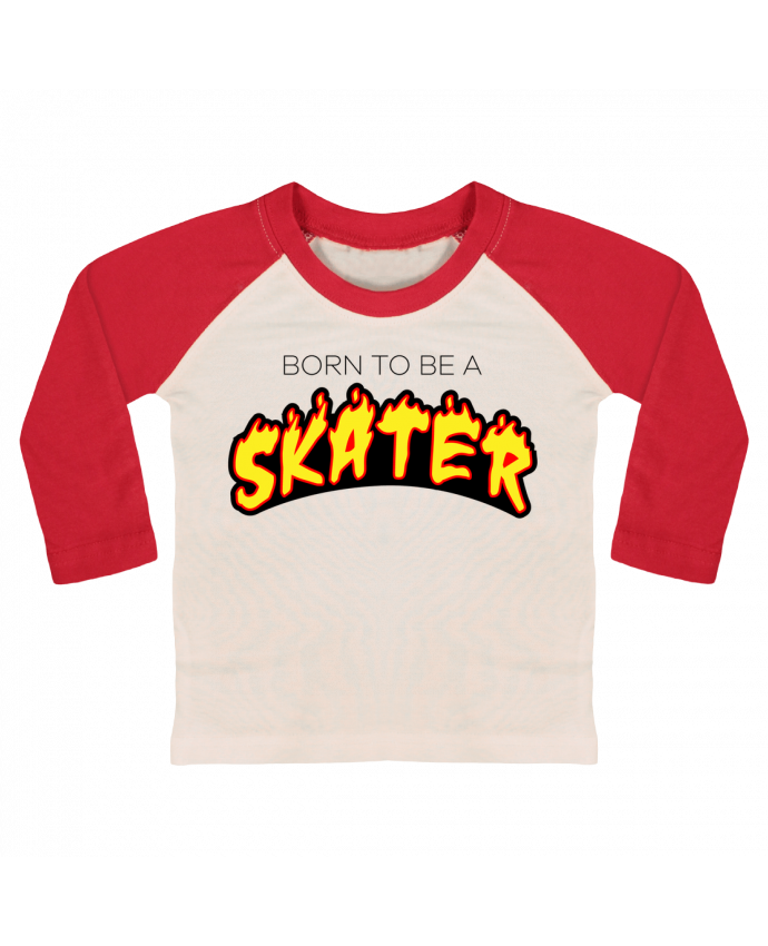 Camiseta Bebé Béisbol Manga Larga Born to be a skater por tunetoo