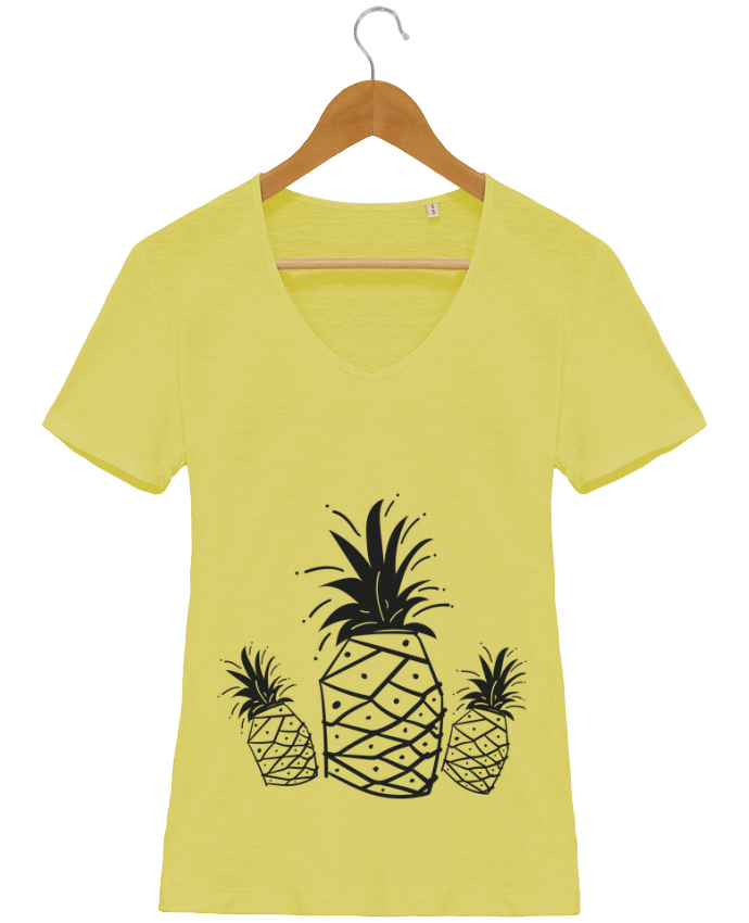 Camiseta Mujer Cuello en V Stella Chooses CRAZY PINEAPPLE por IDÉ'IN