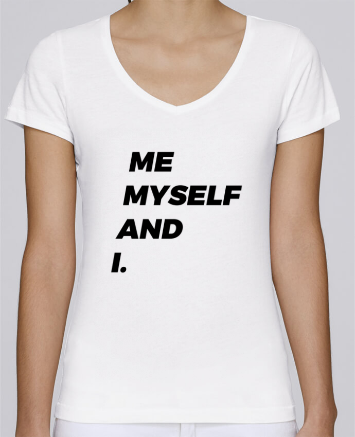 Camiseta Mujer Cuello en V Stella Chooses me myself and i. por tunetoo
