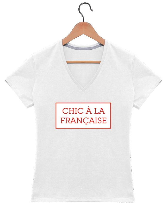 Camiseta Mujer Cuello en V Chic à la française por tunetoo
