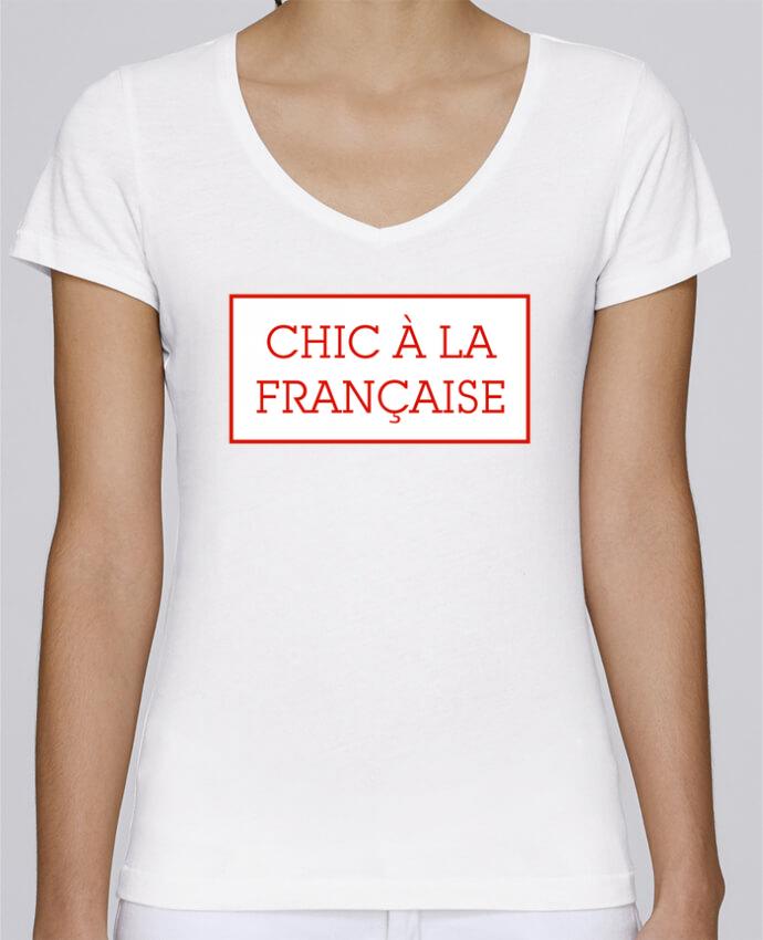 Camiseta Mujer Cuello en V Stella Chooses Chic à la française por tunetoo