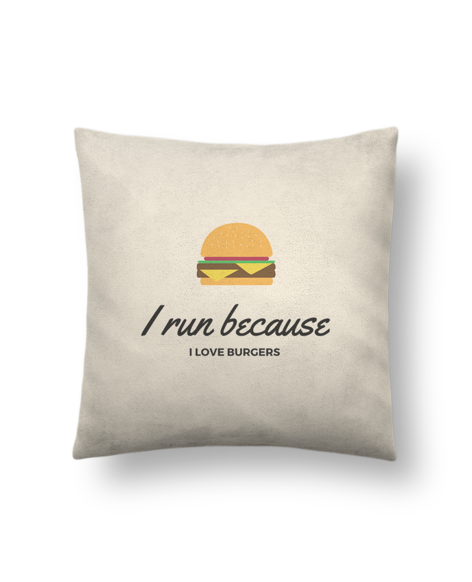Cojín Piel de Melocotón 45 x 45 cm I run because I love burgers por followmeggy