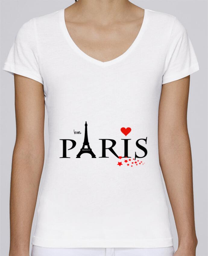 Camiseta Mujer Cuello en V Stella Chooses Paris love por Dream Design