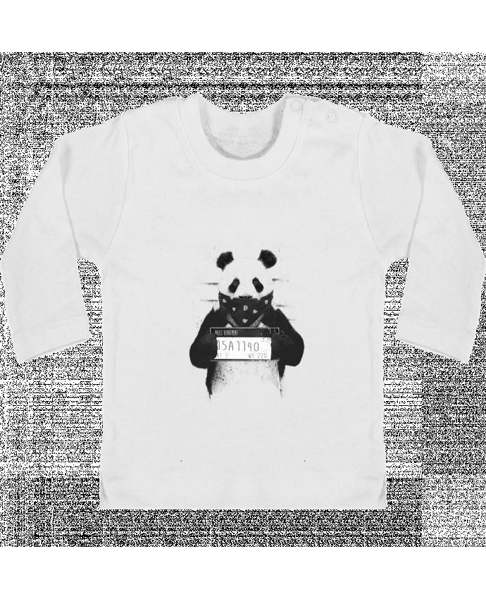 Camiseta Bebé Manga Larga con Botones  Bad panda manches longues du designer Balàzs Solti