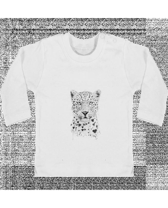 Camiseta Bebé Manga Larga con Botones  lovely_leopord manches longues du designer Balàzs Solti