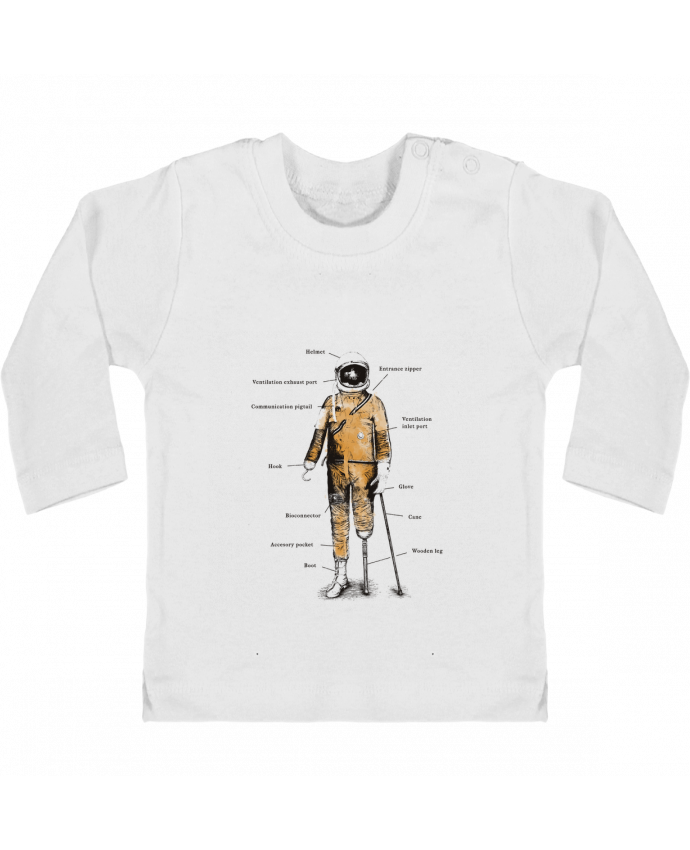 Camiseta Bebé Manga Larga con Botones  Astropirate with text manches longues du designer Florent Bodart