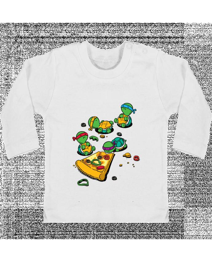 Camiseta Bebé Manga Larga con Botones  Pizza lover manches longues du designer flyingmouse365