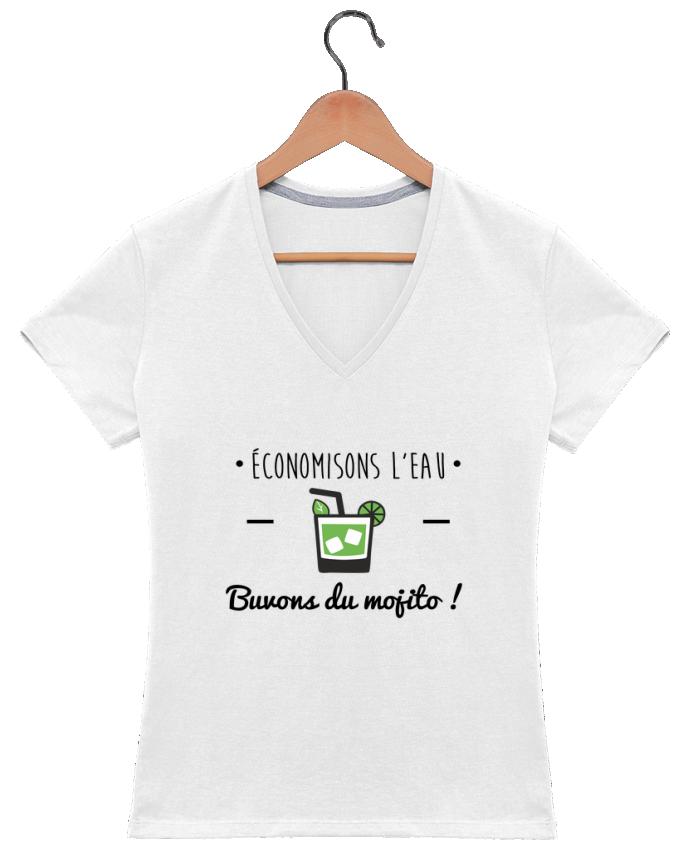 Camiseta Mujer Cuello en V Économisons l'eau, buvons du mojito ! Humour , alcool , citations por Benichan