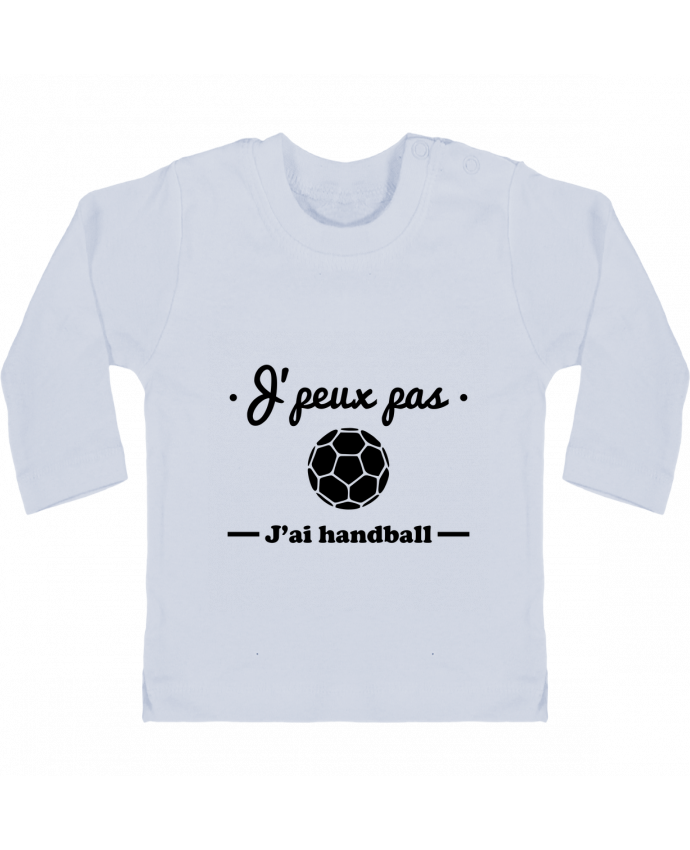 Camiseta Bebé Manga Larga con Botones  J'peux pas j'ai handball ,  tee shirt handball, hand manches longues du designer Beni