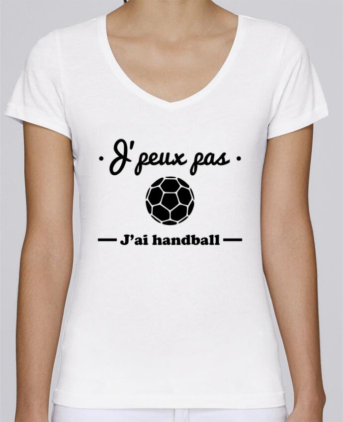 Camiseta Mujer Cuello en V Stella Chooses J'peux pas j'ai handball ,  tee shirt handball, hand por Benich