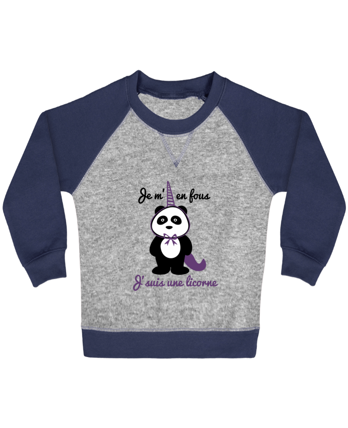 Sudadera Bebé Cuello Redondo Mangas Contraste Je m'en fous j'suis une licorne, panda por Benichan