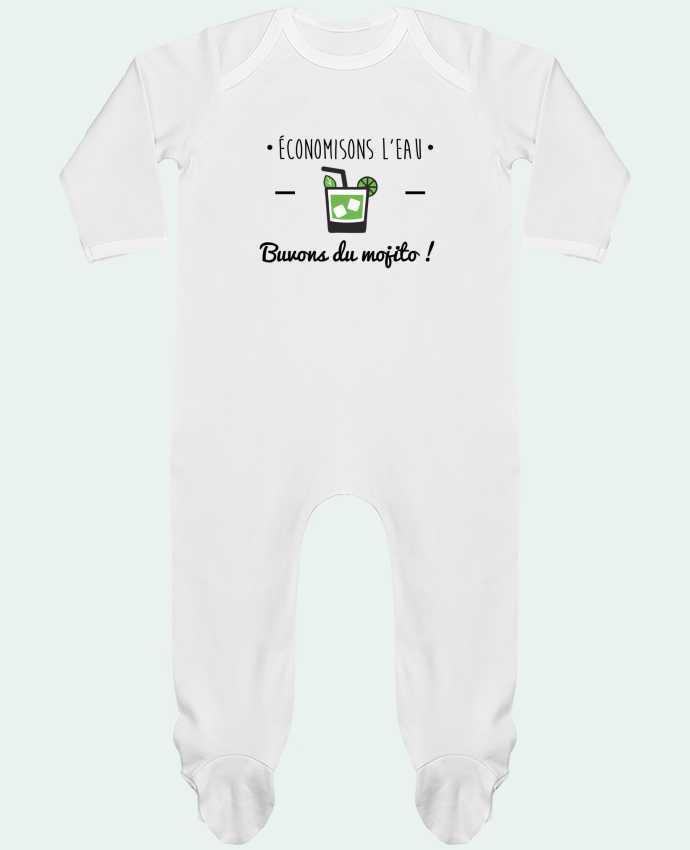Pijama Bebé Manga Larga Contraste Économisons l'eau, buvons du mojito ! Humour , alcool , citations por Benichan