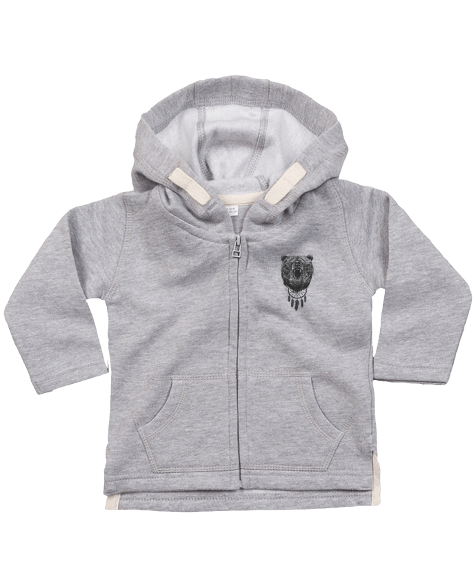 Sudadera Capucha con Cermallera Angry bear with antlers por Balàzs Solti