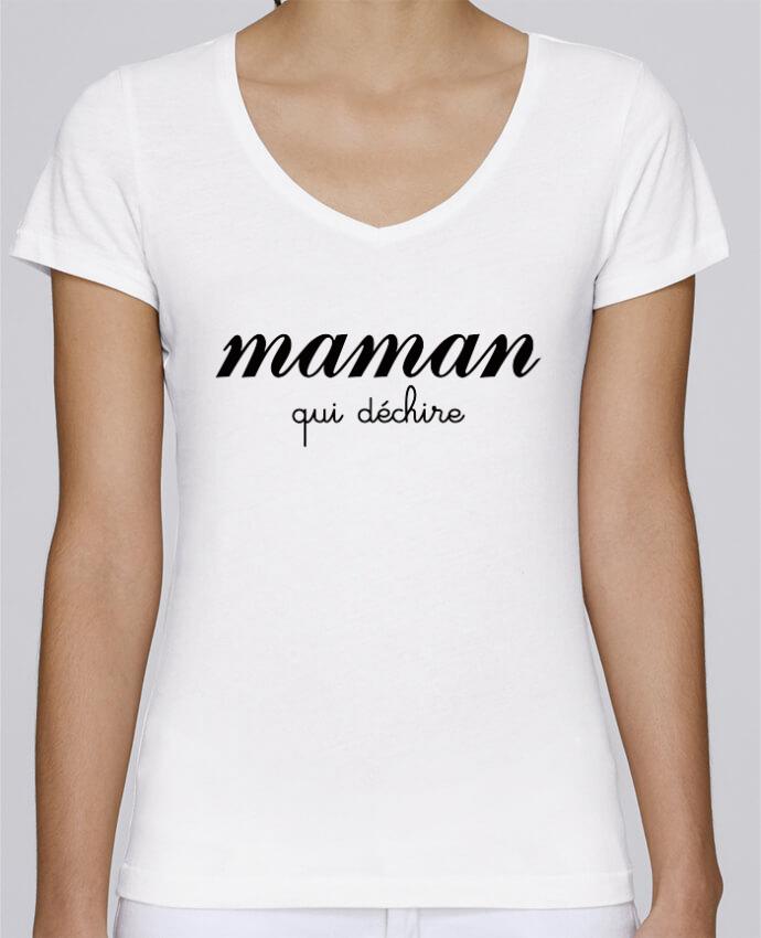 Camiseta Mujer Cuello en V Stella Chooses Maman qui déchire por Freeyourshirt.com