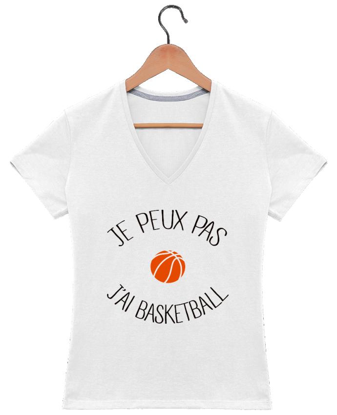 Camiseta Mujer Cuello en V je peux pas j'ai Basketball por Freeyourshirt.com