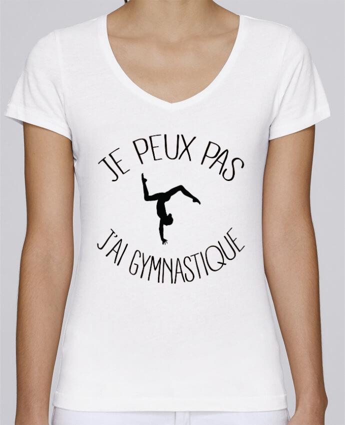 Camiseta Mujer Cuello en V Stella Chooses Je peux pas j'ai gymnastique por Freeyourshirt.com