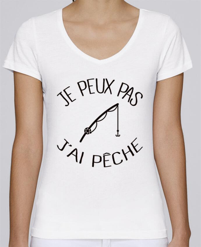 Camiseta Mujer Cuello en V Stella Chooses Je peux pas j'ai pêche por Freeyourshirt.com