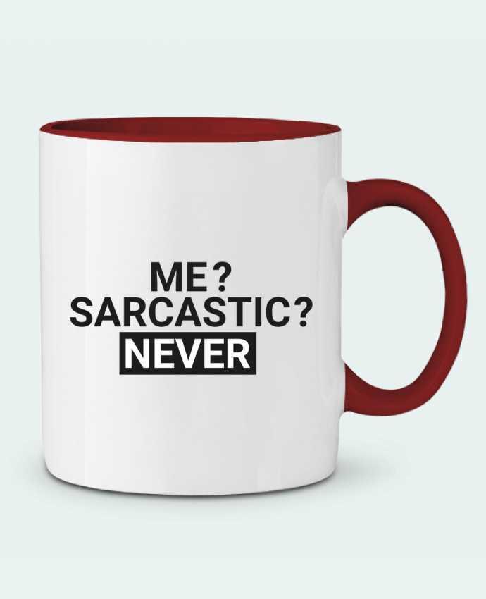 Taza Cerámica Bicolor Me sarcastic ? Never tunetoo