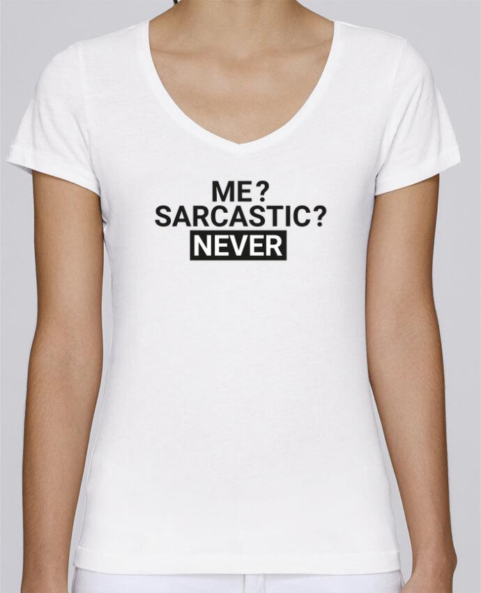 Camiseta Mujer Cuello en V Stella Chooses Me sarcastic ? Never por tunetoo