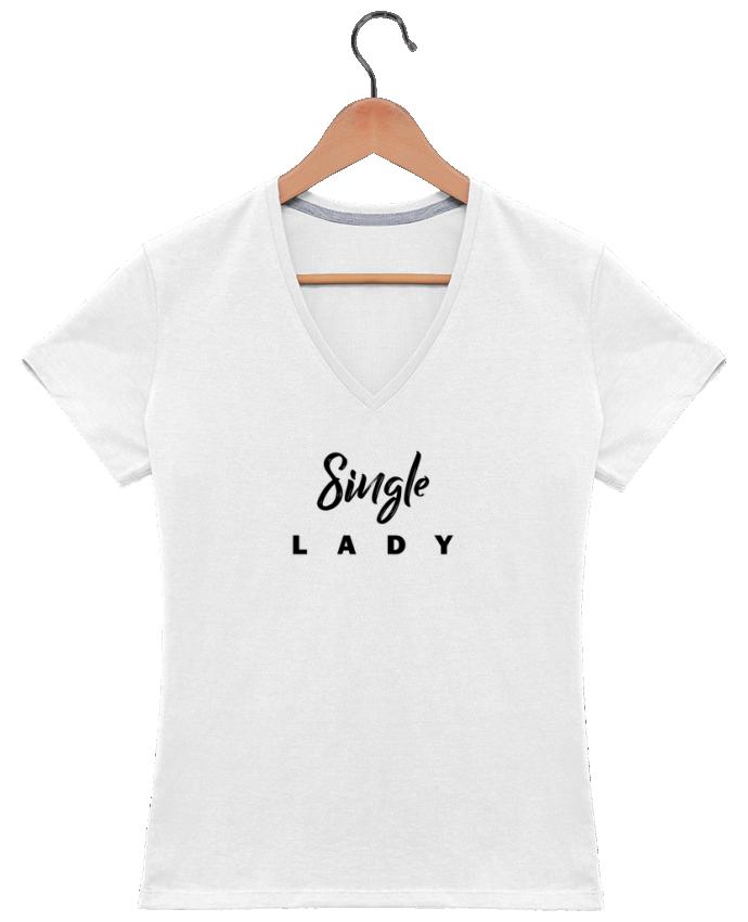 Camiseta Mujer Cuello en V Single lady por tunetoo