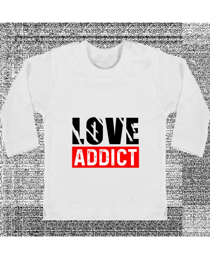 Camiseta Bebé Manga Larga con Botones  Love Addict manches longues du designer sole-tshirt