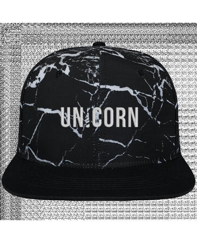Gorra Snapback Diseño Mineral Negro Unicorn brodé et toile imprimée motif minéral noir et blanc