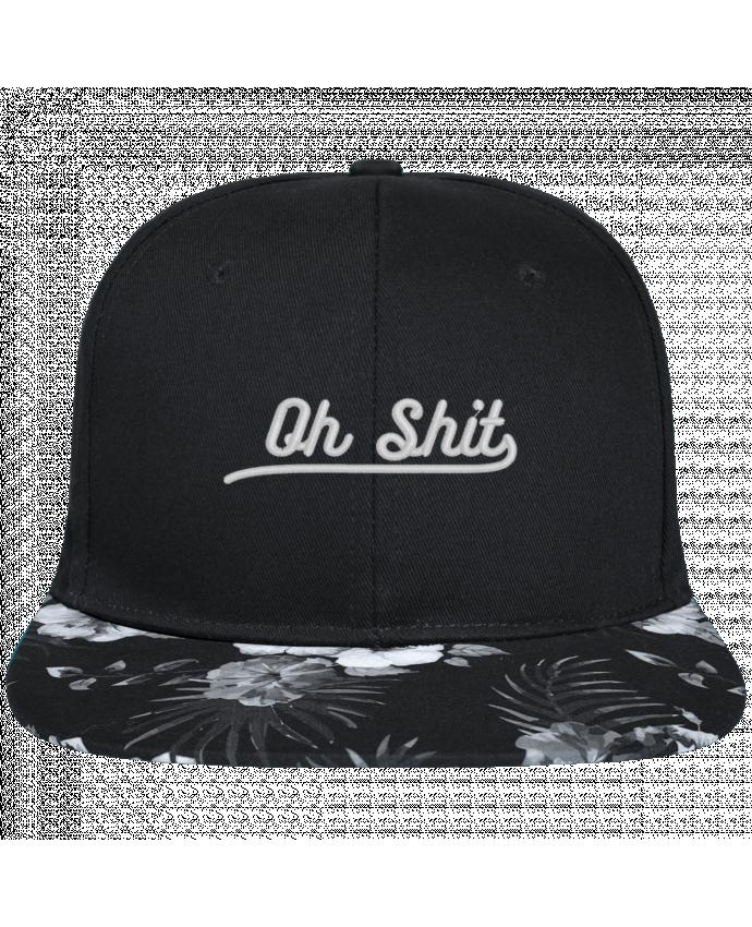 Gorra Snapback Visera Flor Hawai Oh shit brodé avec toile noire 100% coton et visière imprimée fleurs 100% po