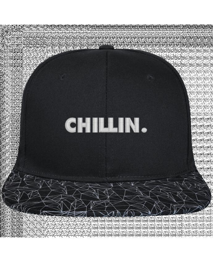Gorra Snapback Visera Diseño Geométrico Negro Chillin. brodé avec toile noire 100% coton et visière imprimée 10
