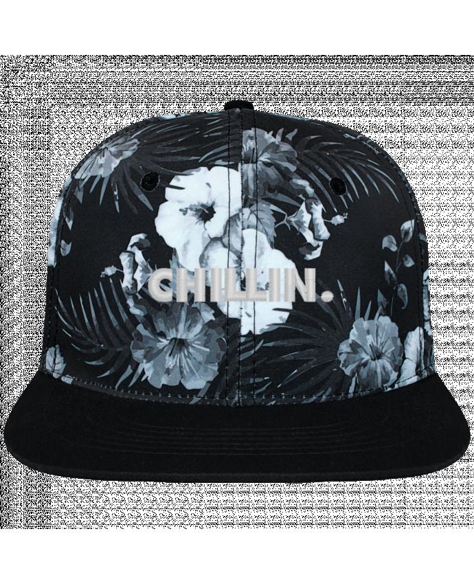 Gorra Snapback Diseño Hawai Chillin. brodé et toile imprimée motif floral noir et blanc