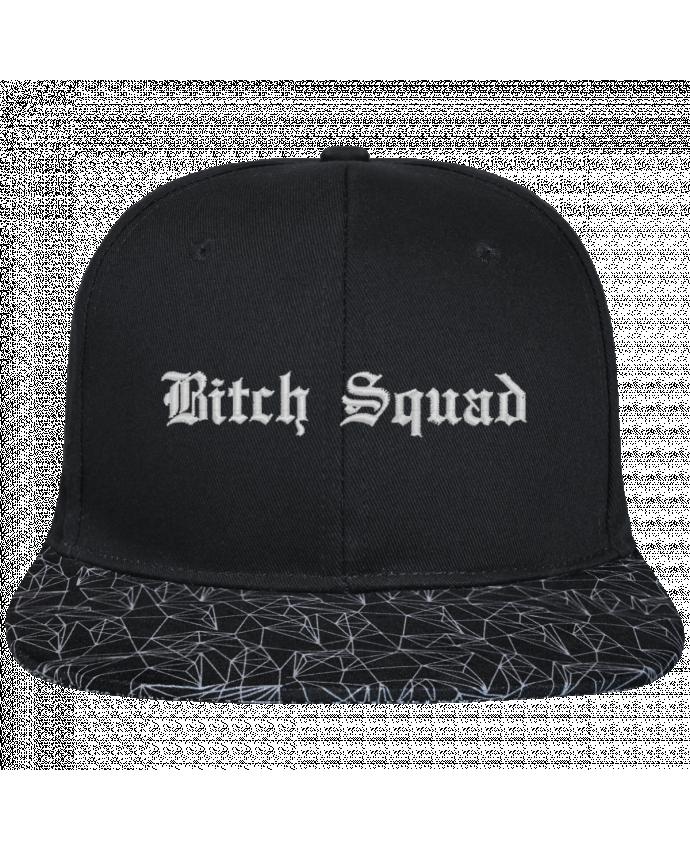 Gorra Snapback Visera Diseño Geométrico Negro Bitch Squad brodé avec toile noire 100% coton et visière imprimée