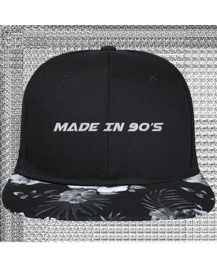 Gorra Snapback Visera Flor Hawai Made in 90s brodé avec toile noire 100% coton et visière imprimée fleurs 100