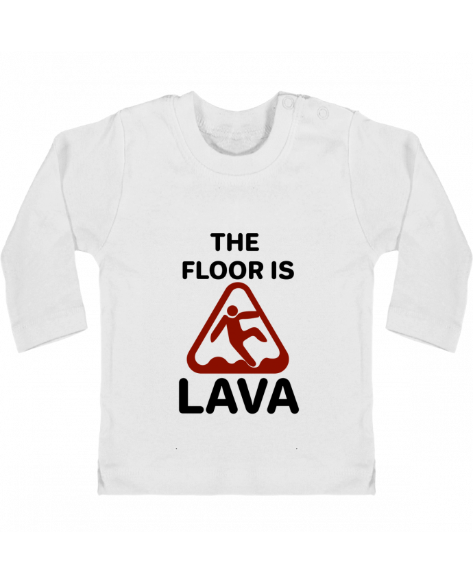 Camiseta Bebé Manga Larga con Botones  The floor is lava manches longues du designer tunetoo