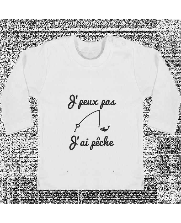 Camiseta Bebé Manga Larga con Botones  J'peux pas j'ai pêche,tee shirt pécheur,pêcheur manches longues du designer Benichan