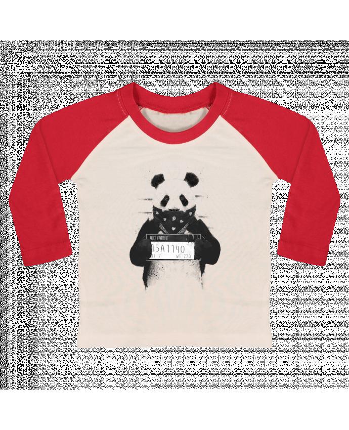 Camiseta Bebé Béisbol Manga Larga Bad panda por Balàzs Solti