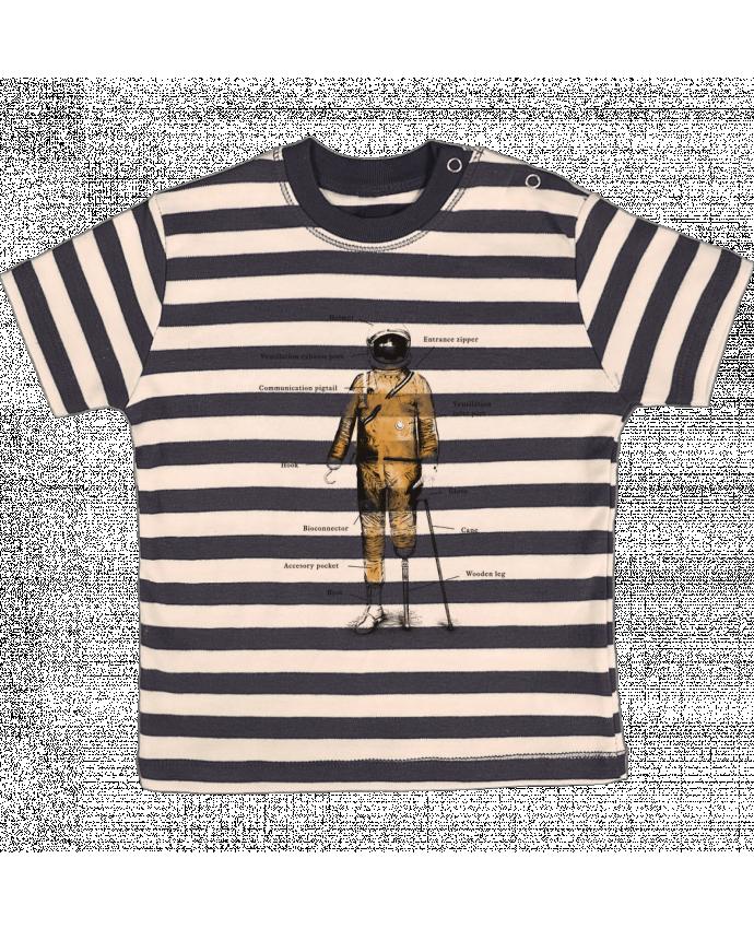 Camiseta Bebé a Rayas Astropirate with text por Florent Bodart