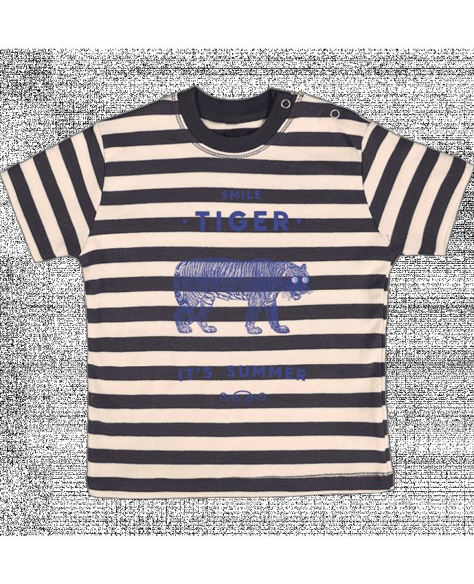 Camiseta Bebé a Rayas Smile Tiger por Florent Bodart