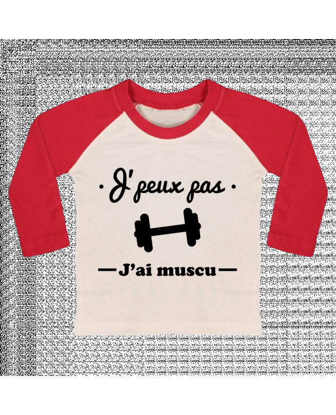 Camiseta Bebé Béisbol Manga Larga J'peux pas j'ai muscu, musculation por Benichan
