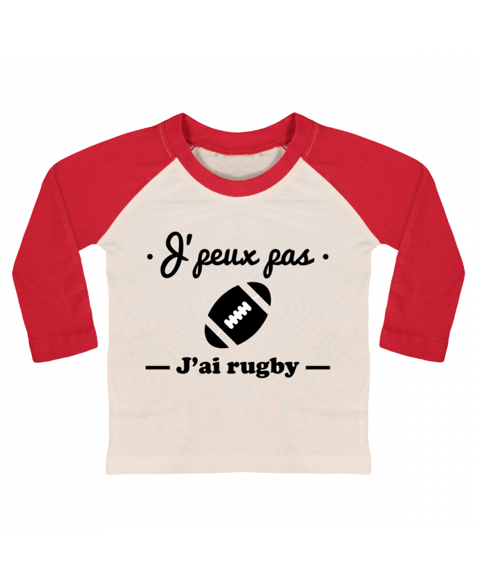 Camiseta Bebé Béisbol Manga Larga J'peux pas j'ai rugby por Benichan