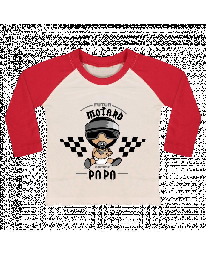 Camiseta Bebé Béisbol Manga Larga Futur Motard Comme Papa por GraphiCK-Kids