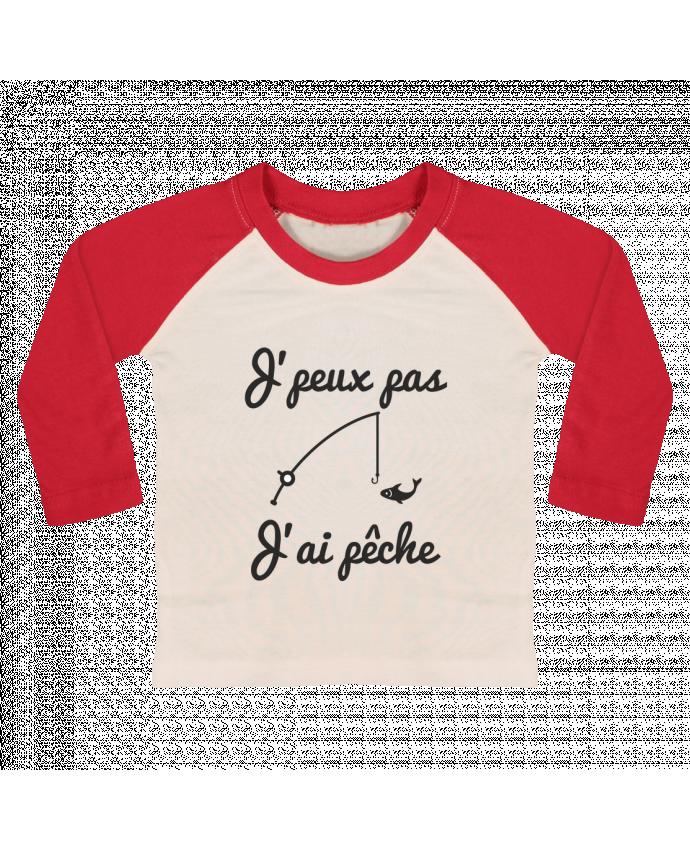 Camiseta Bebé Béisbol Manga Larga J'peux pas j'ai pêche,tee shirt pécheur,pêcheur por Benichan
