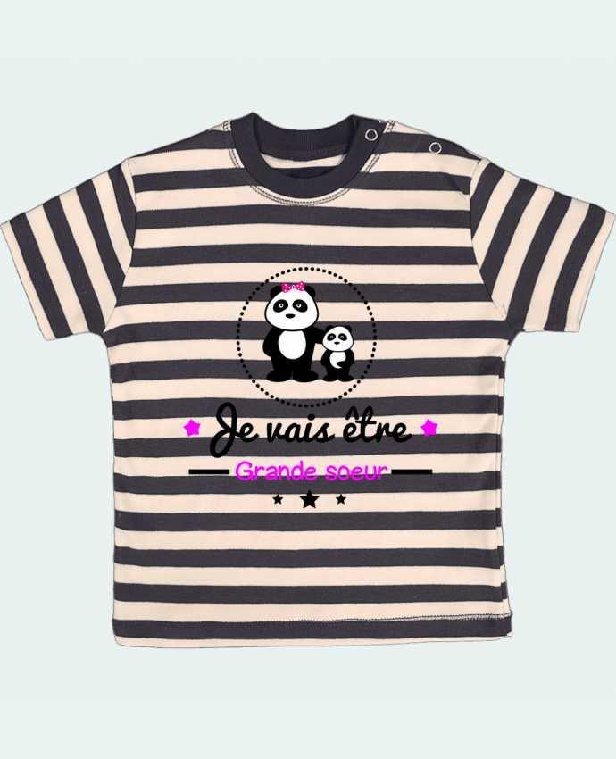 Camiseta Bebé a Rayas Bientôt grande soeur - Future grande soeur por Benichan