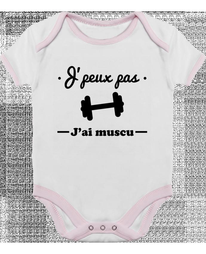 Body Bebé Contraste J'peux pas j'ai muscu, musculation por Benichan