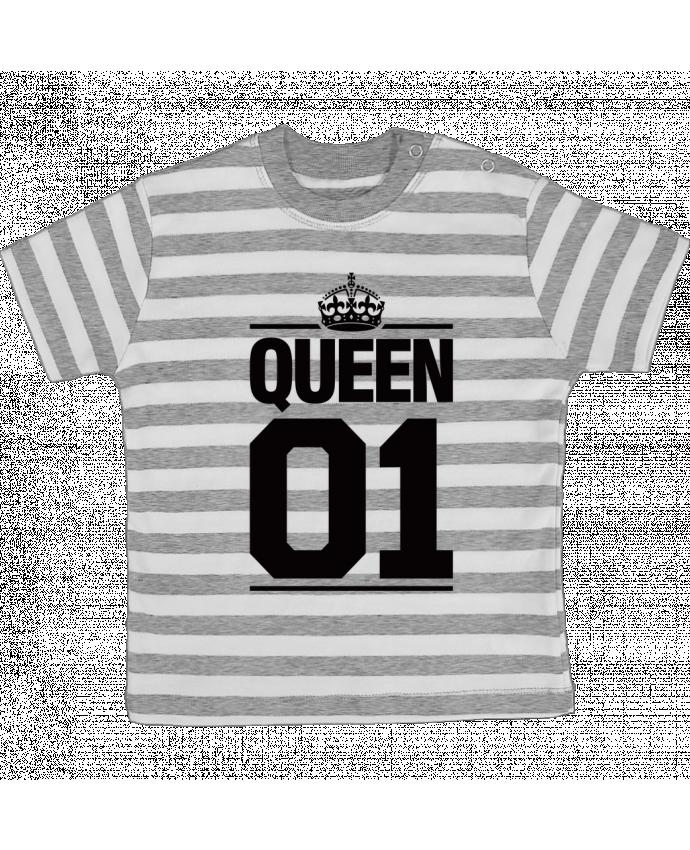 Camiseta Bebé a Rayas Queen 01 por Freeyourshirt.com