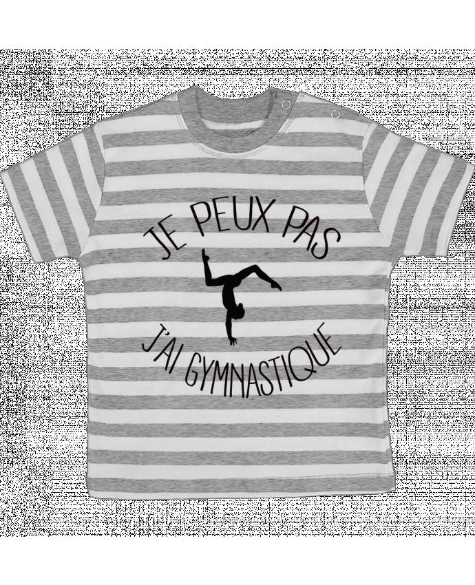Camiseta Bebé a Rayas Je peux pas j'ai gymnastique por Freeyourshirt.com