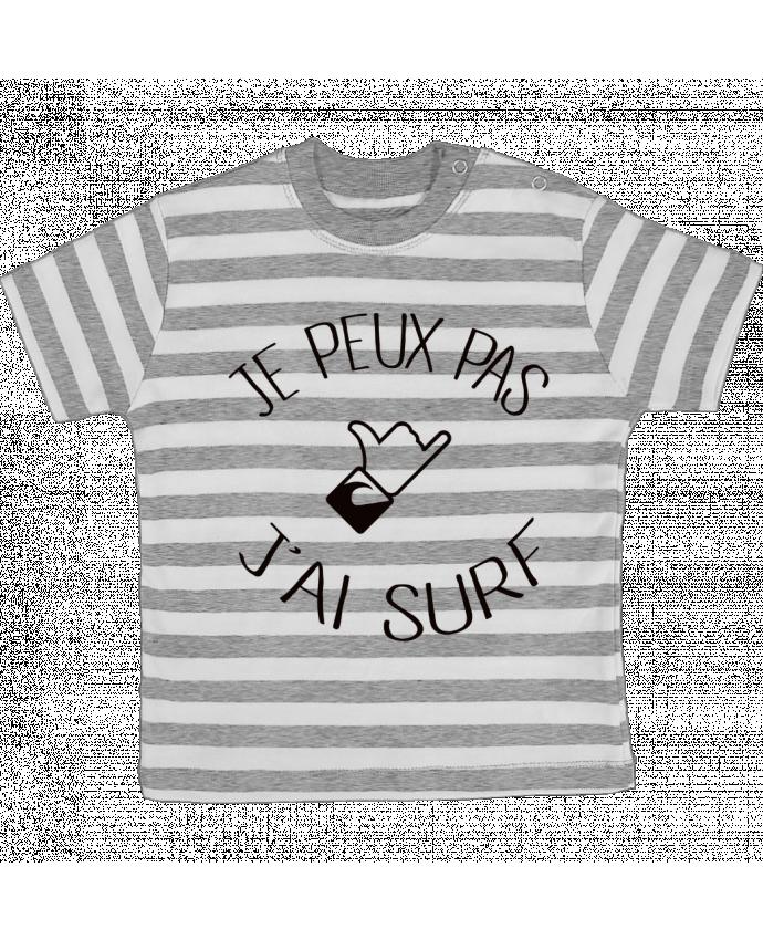 Camiseta Bebé a Rayas Je peux pas j'ai surf por Freeyourshirt.com